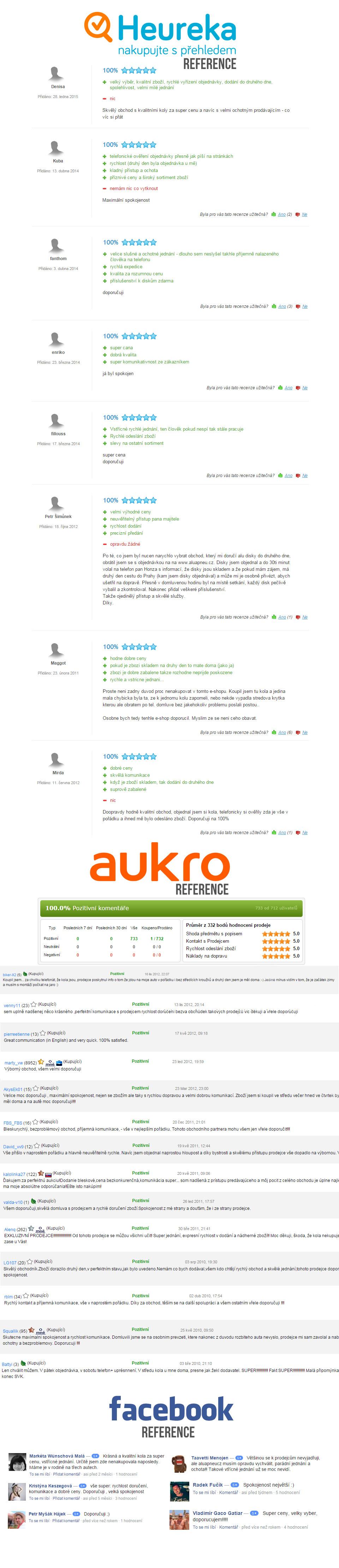 Co o nás, aluapneu, říkají naši zákazníci. Aukro, Facebook a Heureka